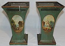 Pair 19th C.Hand Painted French Tole 9 1/2