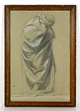 Hungarian, Pencil Drawing of Robed Man