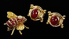 14K Ruby and Diamond Bumble Bee Pin