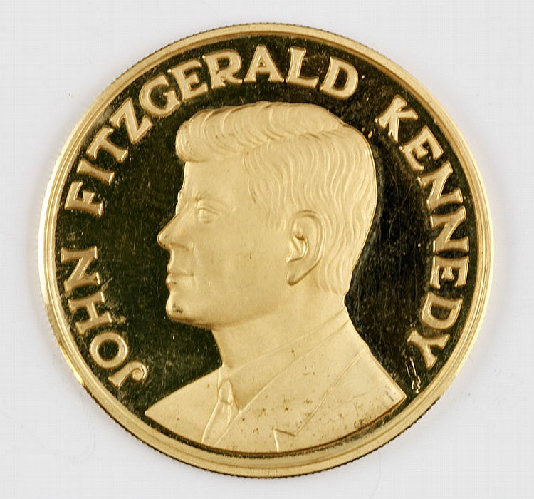 Rare 18K Gold Commemorative Coin of JFK