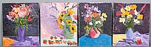 Kaknes, Four Floral Still Life Paintings, O/C