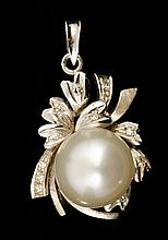 18K Gold, Diamond and South Sea Pearl Pendant