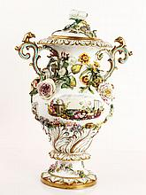 19th C. Paris Porcelain  Covered Urn