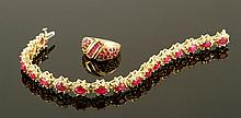 14K Gold, Diamond and Ruby Bracelet and Ring