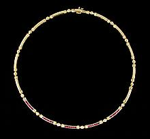 14K Gold, Diamond and Ruby Necklace