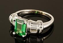 14K Gold, Diamond and Tourmaline Ring