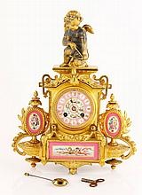 19th C. French Gilt Metal Figural Clock