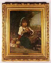 19th C., Child with an Apple, O/C