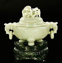 Monumental Carved Chinese White Jade Censer, Qing.