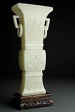 Chinese Jade Fang Gu Vase. Qing (1644-1911)