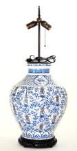 Chinese Blue and Red Table Lamp