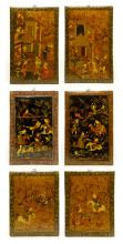 Six Indian Watercolor Wood Plaques