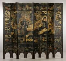 Fine Chinese Coromandel Decorated Eight-Panel Screen