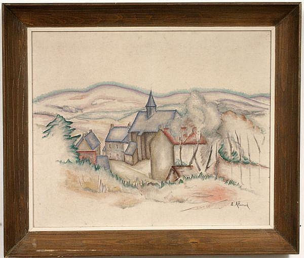 Signed Eugene Alluaud, Village Scene, o/c