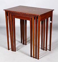 Set of 4 19th C. Marquetry Nesting Tables