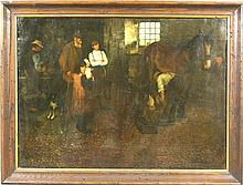 E. Wilberforce, Blacksmith Shoeing Horse, o/c