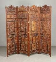 Indian 4 Panel Carved Screen