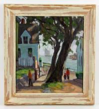 Attr. Stevens, Rockport Street Scene, Oil on Canvas