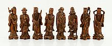 Lot of 8 Chinese Carved Figures, Wood