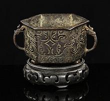 Chinese Hexagonal Censer, Bronze