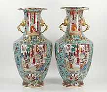 Pr. Chinese Rose Medallion Vases, Porcelain