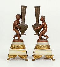 Pair Figural Vases, Spelter