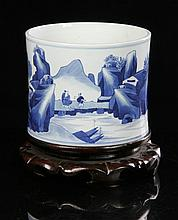 18th C. Chinese Blue and White Brush Pot, Porcelain