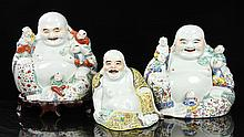 Lot of 3 Republic Period Chinese Buddha Figures, Porcelain