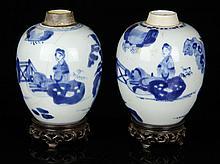 Pr. Chinese Blue and White Vases, Porcelain