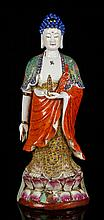 Chinese Famille Rose Buddha Figure, Porcelain