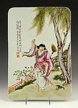 Chinese Famille Rose Plaque depicting Liu Hai, Porcelain