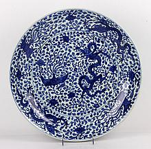 Chinese Blue and White Charger, Porcelain