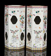 Pr. 19th C. Chinese Famille Rose Hat Stand Vases, Porcelain