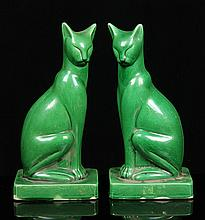 Pr. 20th C. Chinese Cat Bookends, Porcelain