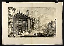 """Piranesi, """"Veduta del Tempio Della Fortuna Virile,"""" Print"""