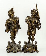 Baroque Style Cavalier Staues, Spelter