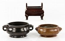 Lot of 3 Chinese Censers, Bronze