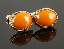 Pr. 12K Gold Cufflinks, Amber