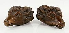 Pr. Antique Rams' Heads, Bronze