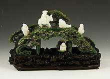 Chinese Carved Spinach Green Jade Bridge