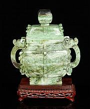 Chinese Carved Censer, Jadeite