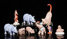 Herend Hungary, Lot of 9 Animal Figures, Porcelain