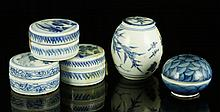 Five 17th C. Chinese Ming Dynasty Blue and White Cups