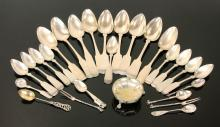 Collection of 19th C. Coin Silver and Sterling Spoons