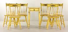 19th C. Set of 6 Thumb Back Windsor Chairs and Stand