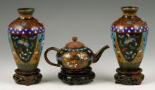 3 Asian Cloisonné Items