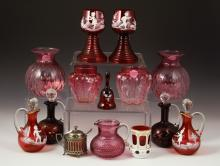 14 Cranberry Glass Items