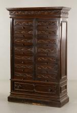 Carved Oak File Cabinet
