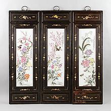 Set of 3 Chinese Porcelain Panels