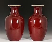 Pair of 19th C. Ox Blood Vases